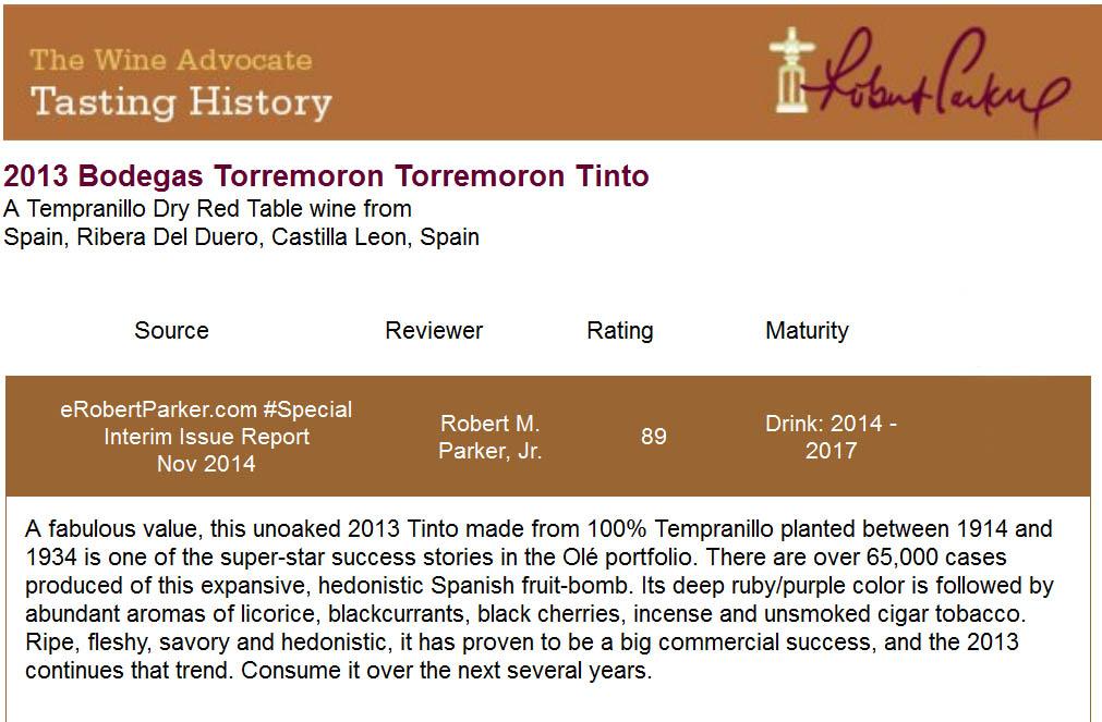 Torremoron 2013 - Robert Parker 89